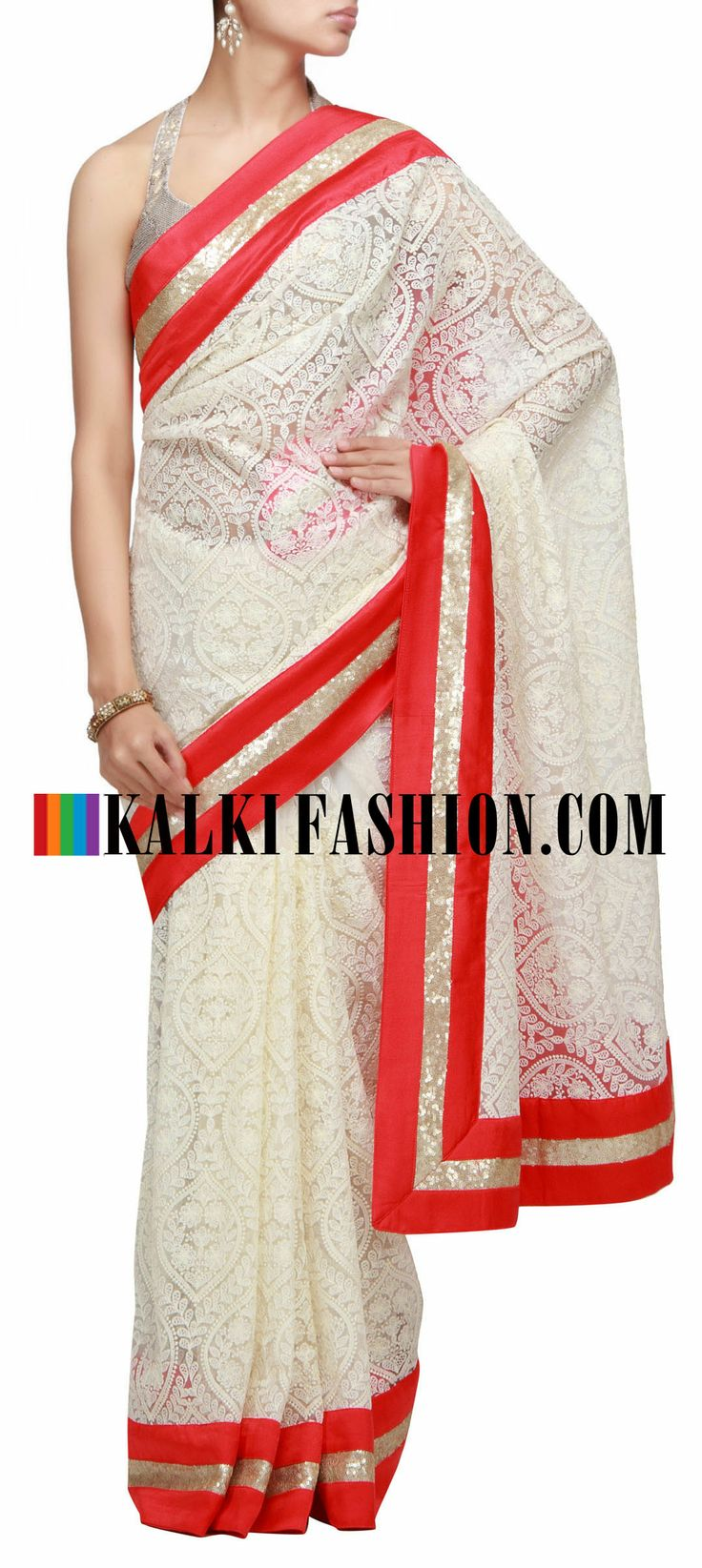 Buy Online from the link below. We ship worldwide (Free Shipping over US$100) http://www.kalkifashion.com/cream-saree-featuring-with-thread-embroidery.html Cream saree featuring with thread embroidery