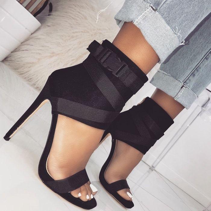 spandex buckle stiletto heels