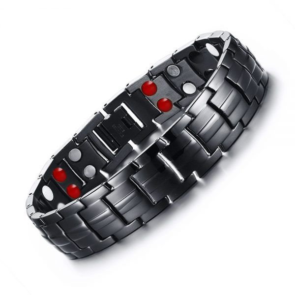 Men Women Love Stainless Steel Magnetic Therapy Health Bracelet Bangle Wristband