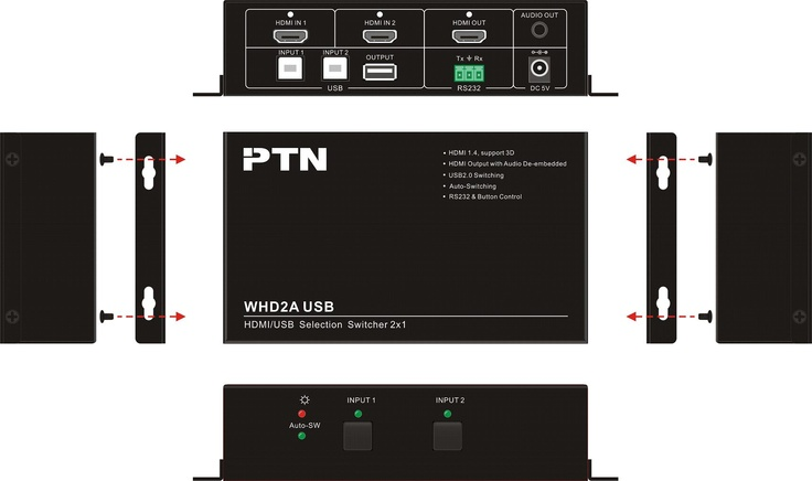 PTN WHD2A USB - HDMI and USB Switcher with audio de-embedder