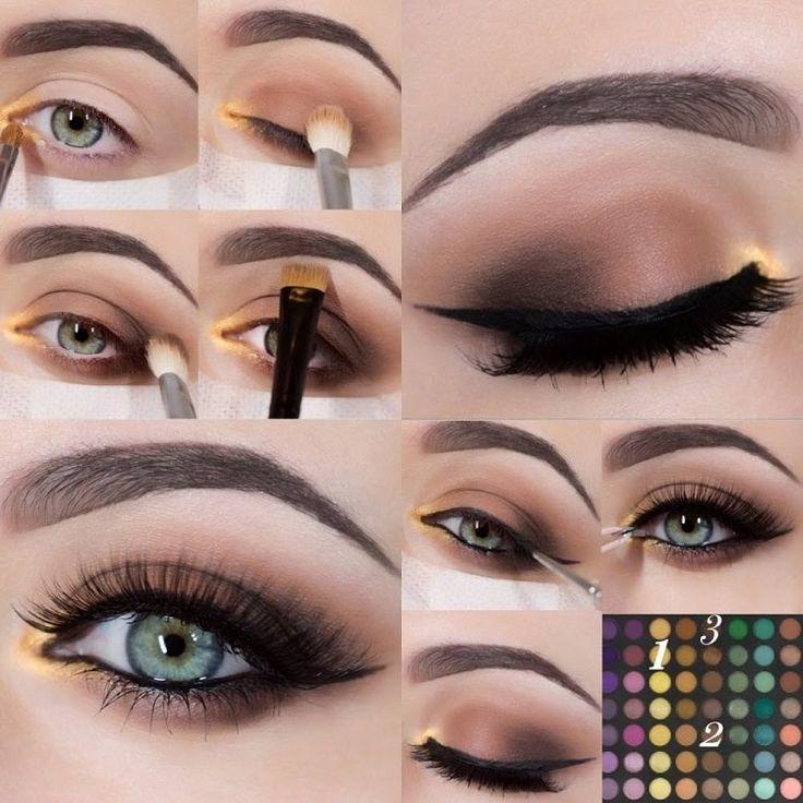 tuto maquillage yeux verts en noir, marron et jaune doré- photos