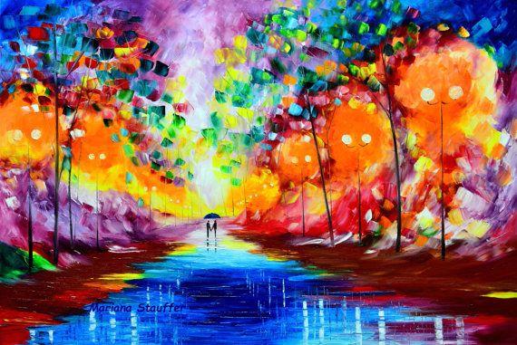 """l'amore di coppia dipinti pioggia parco luce originale artista pittura ad olio notte piovosa paesaggio 36 x 24"""" spatola impressionista Mariana Stauffer"""