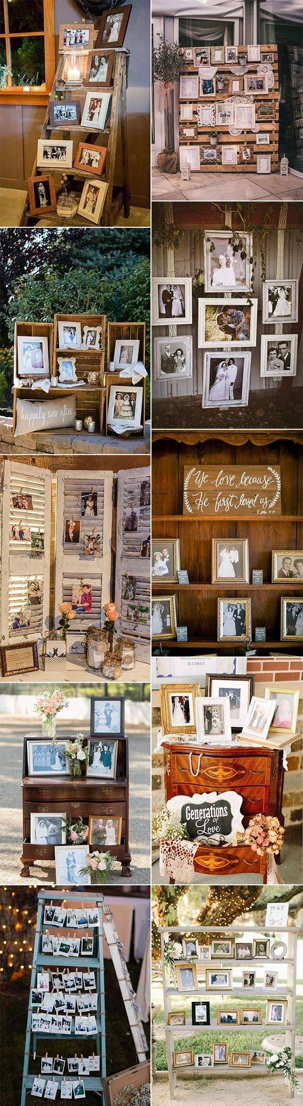 vintage wedding photo display ideas #weddingplanning