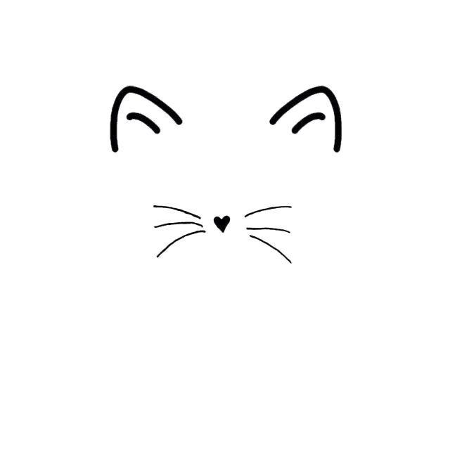 Cat Face Cat Heart Nose Svg Jpg Png Cricut Silhouette Etsy In 2020 Cat Outline Tattoo Cat Outline Cat Face