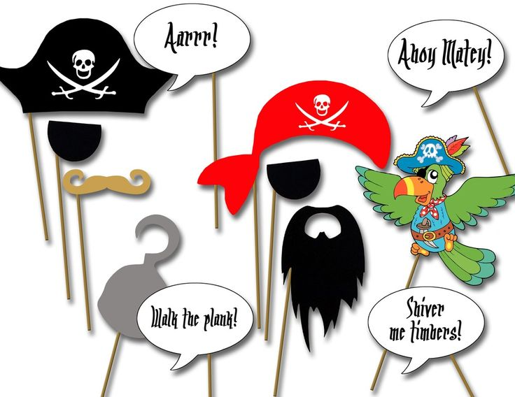 Pirate party photo booth props- printable diy Pirate birthday party decorations by The Party Project