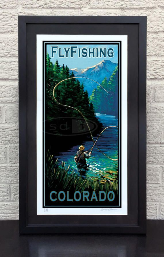 Fly Fishing Colorado travel art vacation poster print painting