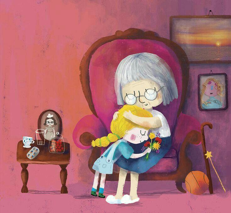 الله يرحمك يا جدتي Hug Illustration Cartoon Drawings Mom Art