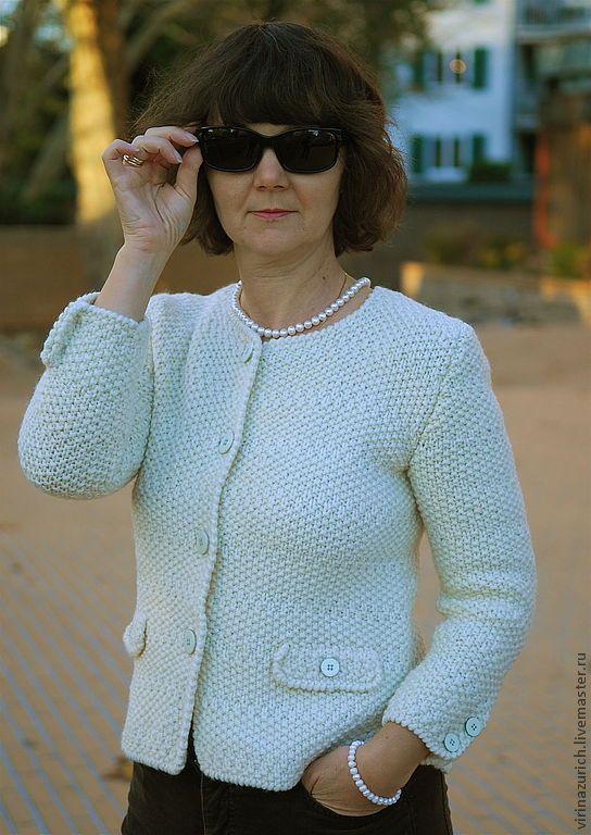 """Купить Жакет """"Парижанка"""" - белый, однотонный, Жакет вязаный, на пуговицах, стиль Шанель, шерсть"""
