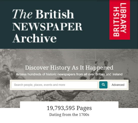 British Newspaper Archive. Subscription or Pay As You Go.