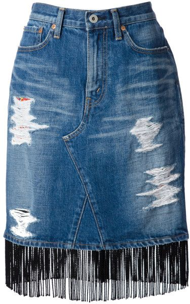 Love this: Fringed Denim Skirt @Lyst