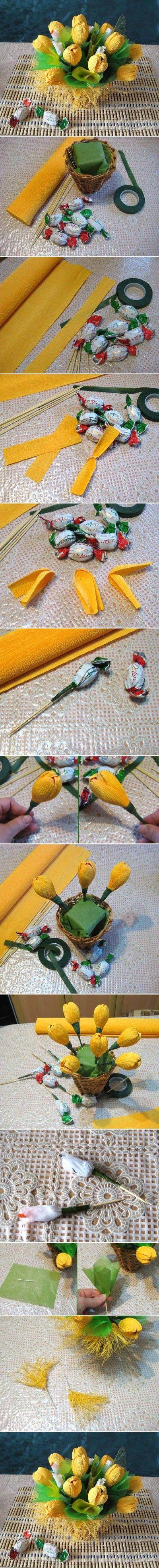 chocolate paper flower bouquet tutorial