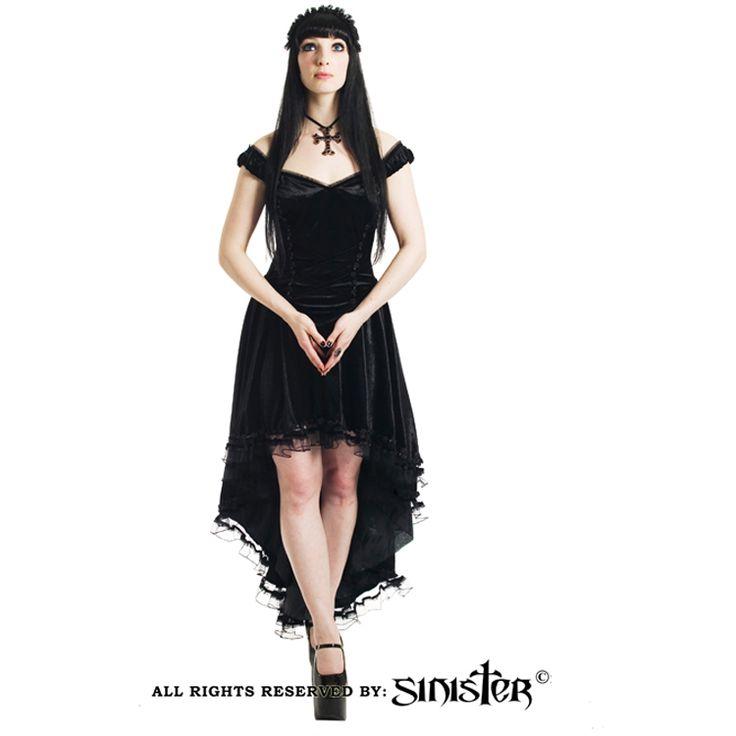 Black velvet fishtail gothic dress by Sinister (516) www.sinister.nl