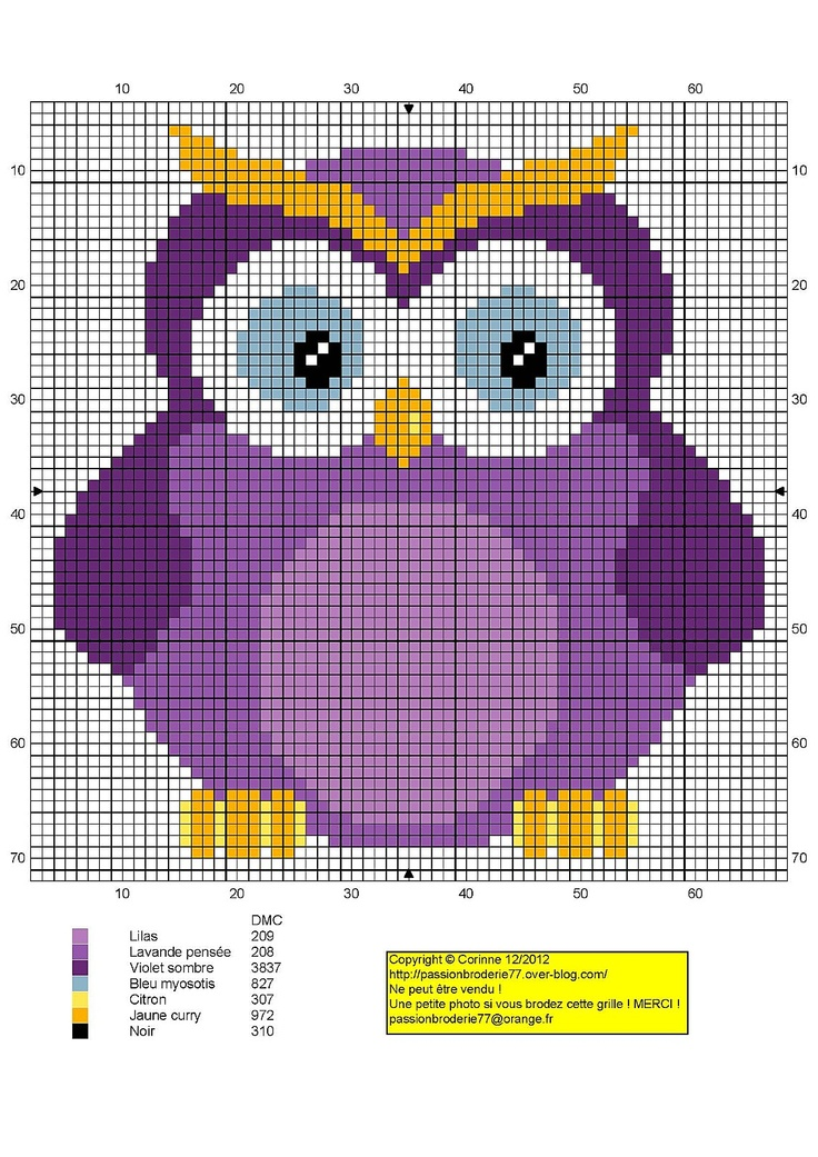 Purple owl cross stitch or graphghan pattern. Note: The grid count is way off on…