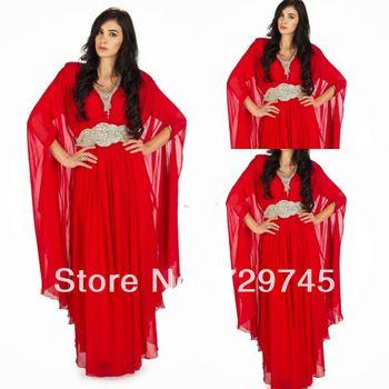 Elegant 2014 Custom Made High Quality V Neck Red Sash Arabic Evening Prom Dresses Pleating Chiffon Full Sleeve Dubai Dresses