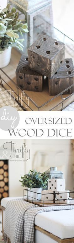 DIY Woodworking Ideas DIY oversized wood dice. A great way to add rustic farmhouse charm to your house...