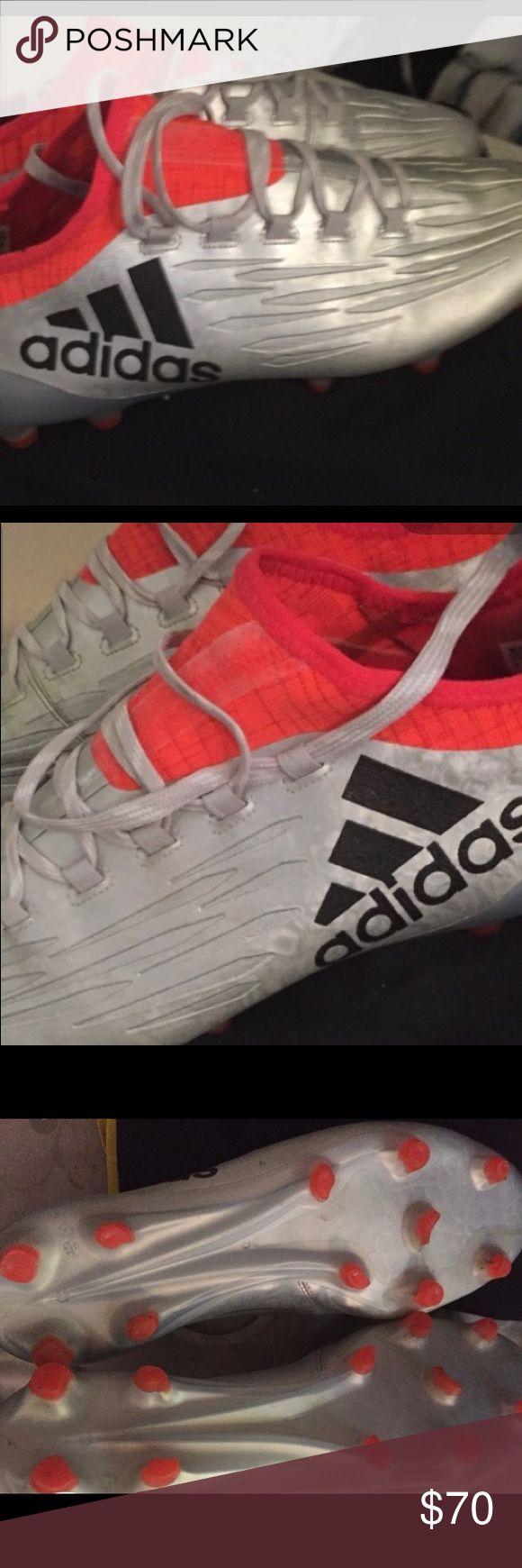Used Adidas 16.1 X FG Men's soccer cleats Gently used incredibly comfortable boot. One scrimmage and occasionally worn while coaching my youth team. The cleats have ZERO wear. The cleats though are too blade like and don't want to accidentally step one of my kids hands. So switching to turf shoes.  10 years ago when I was playing competitively these would have been my dream boot. They are like playing on cool whip they are so light and the touch is sublime! adidas Shoes Athletic Shoes