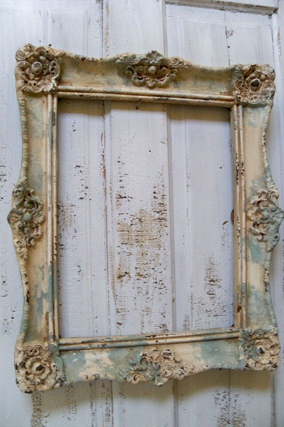 weathered seafoam ornate frame large beachy by anitasperodesign 15000