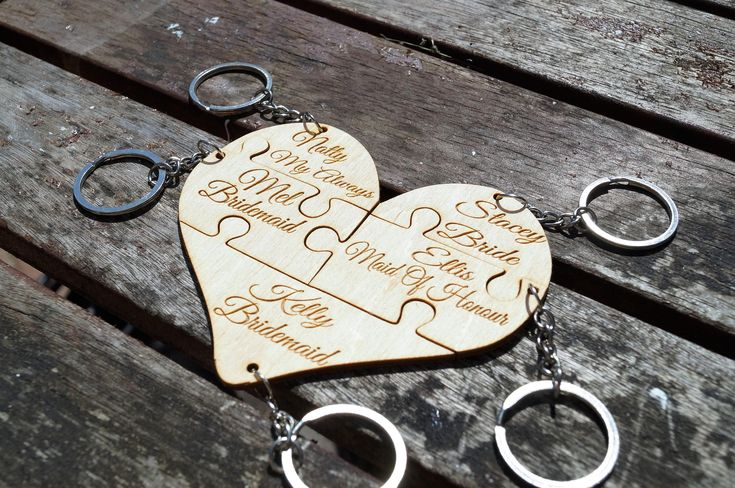 Wooden bridal keyring, wedding favour, bridal party gift, personalised keyring, wedding jigsaw keyring, personalised family keyring by celebrateyourway on Etsy