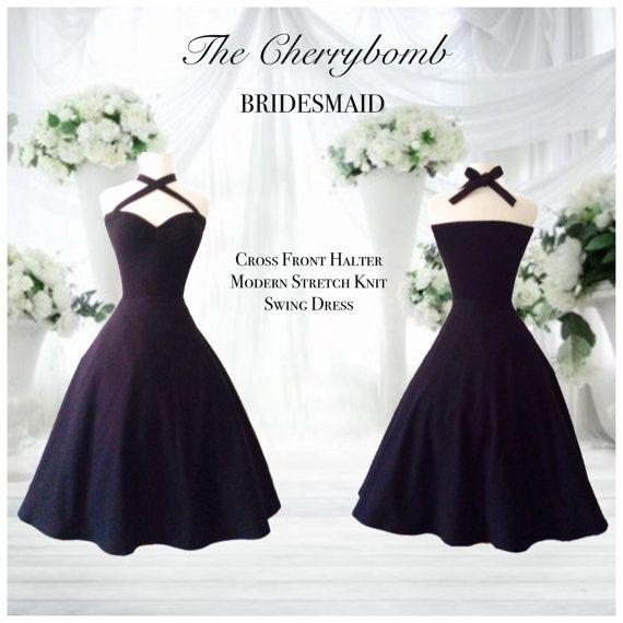 Rockabilly BRIDESMAID Cross Front Halter Dress by MoonbootStudios