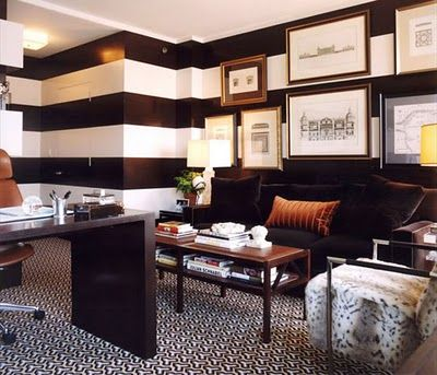 officeStripes Wall, Offices Spaces, Black And White, Interiors Design, Black White, Striped Walls, Hollywood Regency, Man Caves, Home Offices
