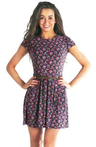 Платье в цветочек трикотажное