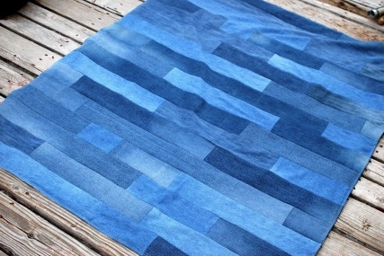 denim strip blanket... made from old jeans