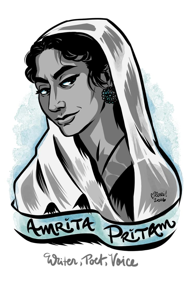 "Day 54: Amrita Pritam—poet, writer, editor and controversial voice for women in India and Pakistan. She was the first major female Punjabi poet and famously wrote the poem ""Today I invoke Waris Shah"" in response to the massacres during the British Partition of India. Her work expressed the suffering of women of all religions in the face of conflict, as well as the brutality visited my men. For that and her outspoken politics and open talk of women's lives, she became a very controversial…"