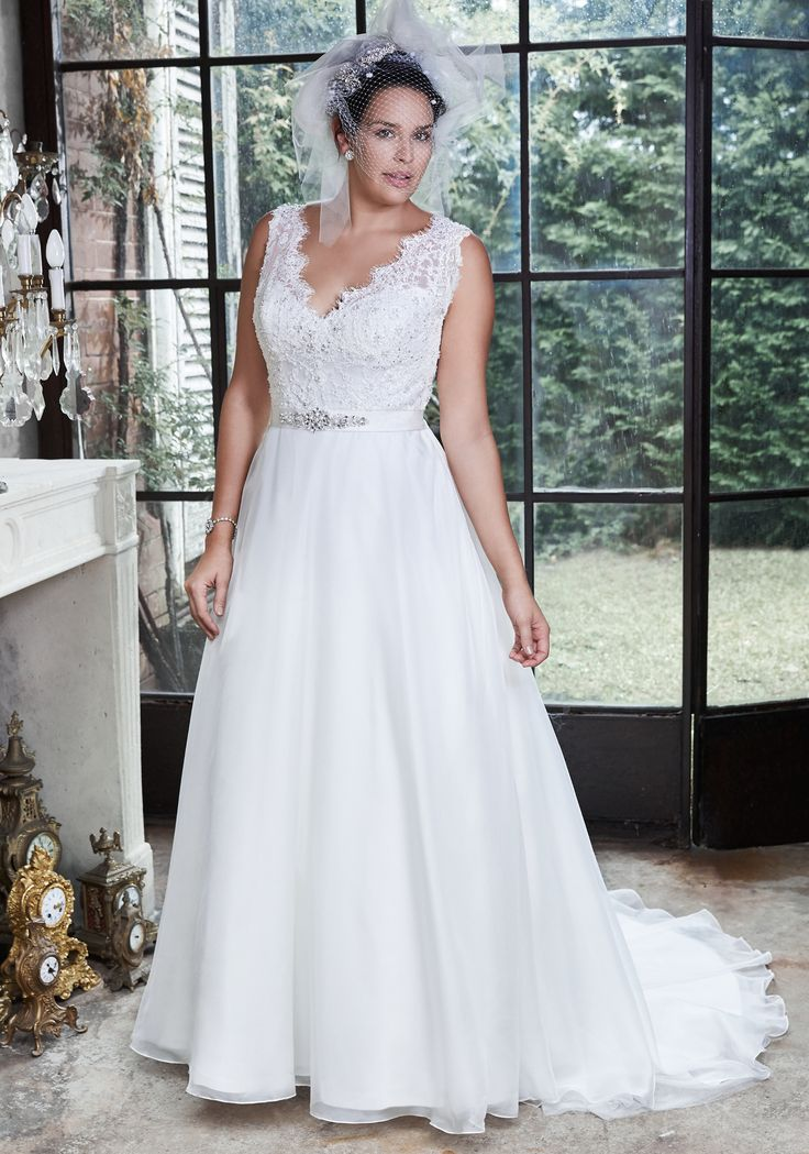 Perfect Debra plus size wedding dress by Maggie Sottero Flowing Mystique organza A line gown