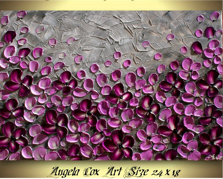 Original Purple Gray Flowers Impasto Textured Palette Knife Floral Painting. by AngelaCoxArt on Etsy www.etsy.com/...