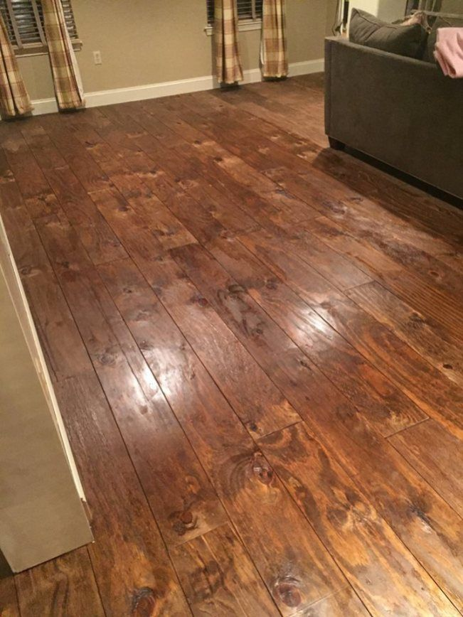 Plywood Plank Flooring Maria Santangelo 9 8 16 Stained And Polyed Featured On Remodelaholic In 2020 Plywood Flooring Plywood Plank Flooring Plywood Flooring Diy