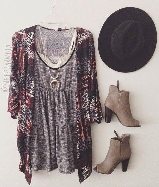 Let's turn alittle greydress into a boho style outfit for school. Wear it with a kimono top withgraphic patterns, a pair of peep toe leather booties or platforms, a leather parcel bag and a fedora hat. Or you can keep… Continue Reading →