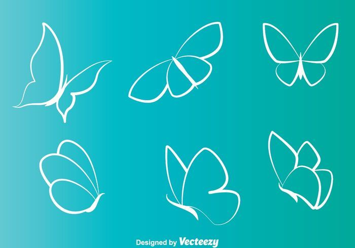 Free vector White Butterflies Line Icons #16446