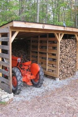 Tractor In Wood Shed TractorWagonWheelbarrow