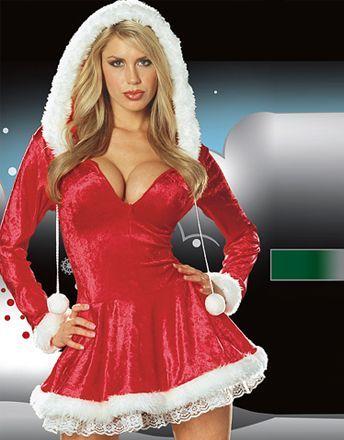 Consigue un 5% de DTO. en tu próxima compra solo por compartir este producto en tus redes sociales. Vestido de Navidad de terciopelo con mangas largas y capucha