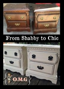 From Shabby to Chic Night Stand Duo Makeover by Oh My Gluestick