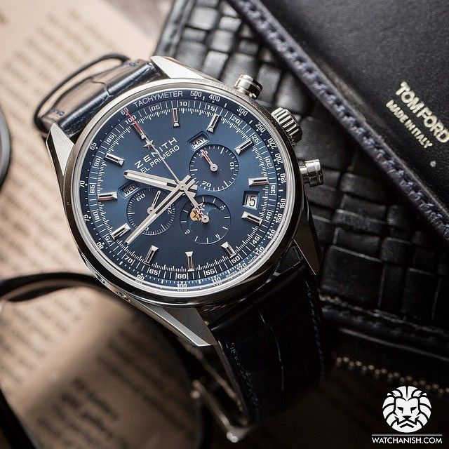 The beautiful blue dial on this Zenith El Primero Annual Calendar Chronograph.