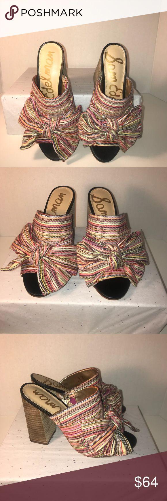 Sam Edelman Yumi Bow Open Toe Mule Sam Edelman Yumi Multicolored Woven Stripe Block Heeled Mule Sandal Sam Edelman Shoes Mules & Clogs