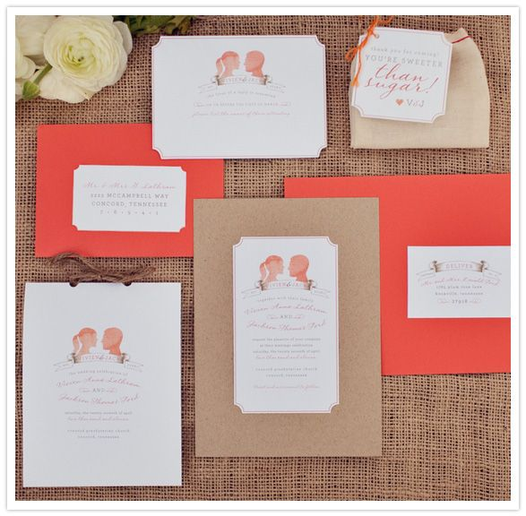 Coral Silhouette Wedding Invitations #camillestyles