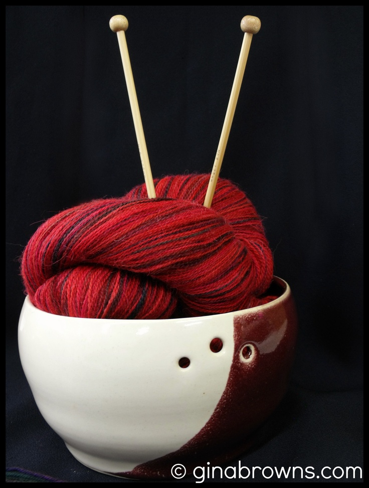 *Sorry knitters! This bowl has sold.* This yarn bowl has a lovely shade of burgundy!