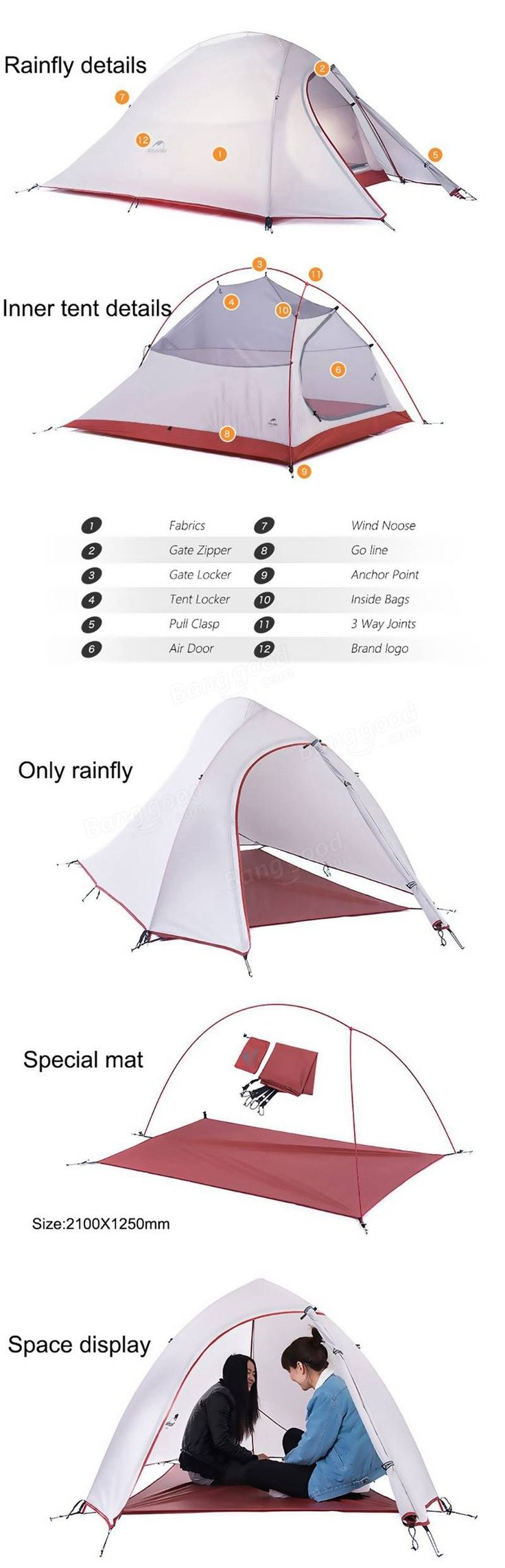 Naturehike Camping 2 Persons Tent Sunshade Double Layer Waterproof Anti-UV Sun Shelter Travel Hiking