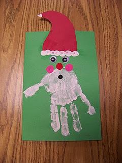 Santa handprint @Lisa Phillips-Barton P Should we make Santas on our craft day? :)