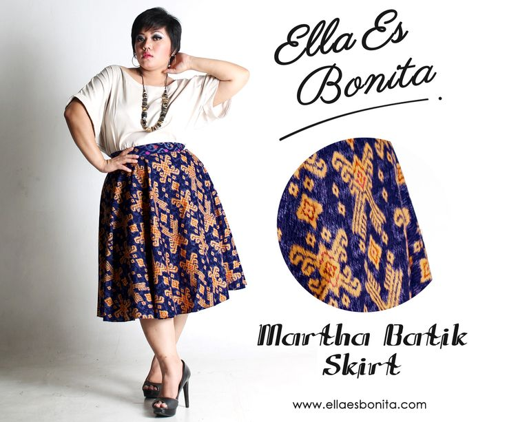 Martha Batik Skirt - This batik skirt features high quality batik cotton and songket for midi skirt which specially designed for sophisticated curvy women originally made by Indonesian Designer & Local Brand: Ella Es Bonita. Available at www.ellaesbonita.com
