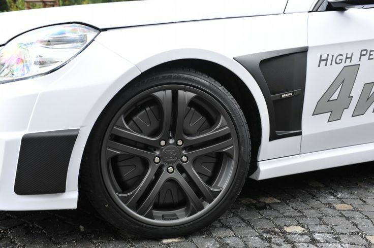 Each wheel motor on the 4WD Brabus electric E-Class Mercedes offers peak power of 80 kW an...