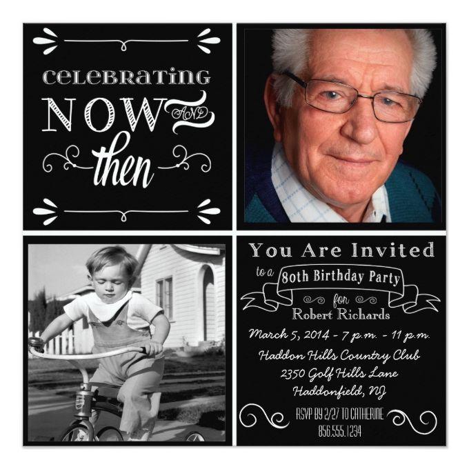 Chalkboard 80th Birthday Square Photo Invitation                                                                                                                                                                                 More