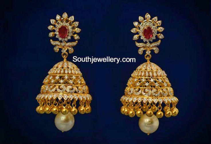 Lovely Diamond Jhumkas
