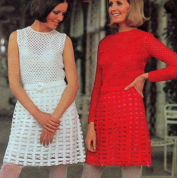 PDF CROCHET PATTERN  Mini Dresses with Rosette Belt  Retro Vintage. £1.25, via Etsy.