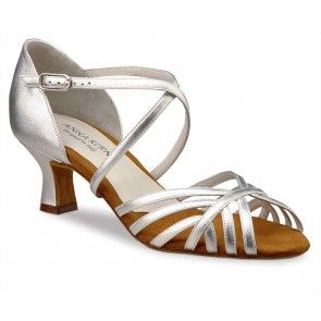 tango, ballroom and salsa dance shoe for women by Anna Kern. Nappa leather  sandal with crossed instep and heel strap