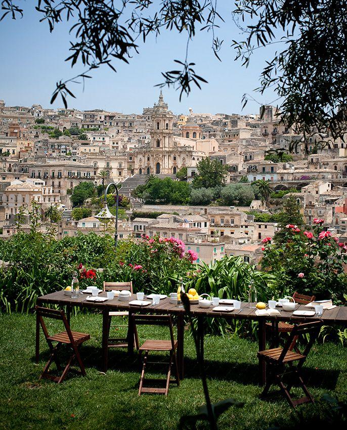 Breakfast garden of Casa Talia by Vivian Haddad and Marco Giunta in Modica, Italy.