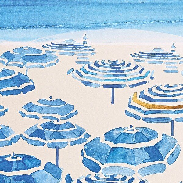 Our new summer pattern features breezy, blue, beach umbrellas with touches of gold