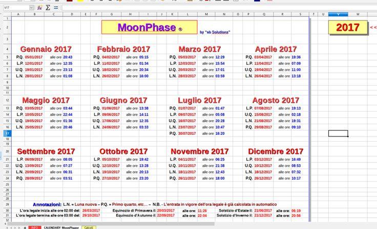 Un calendario perpetuo che mostra le fasi lunari e gli equinozi Ideale per gli appassionati di astronomia, ma anche per gli innamorati che vogliono sapere quando potranno baciarsi sotto la luna piena. Questo calendario ha diverse caratteristiche importanti: prima #luna #fasilunari #calendario #libreoffice